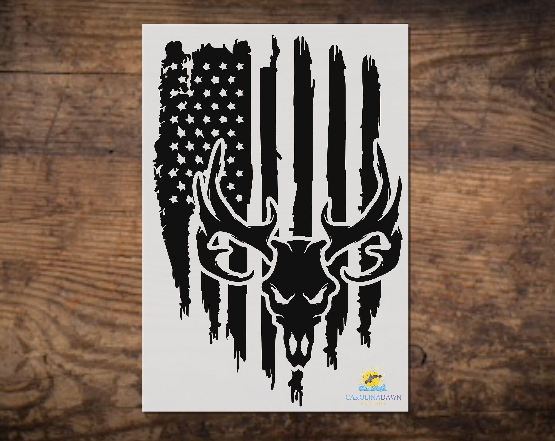 American Flag Deer Skull Vinyl Decal Deer Hunting Decal Etsy In 2020 Hunting Decal Deer Skull Tattoos Animal Stencil