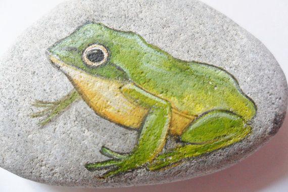 Little green frog Original acrylic miniature by ShePaintsSeaglass