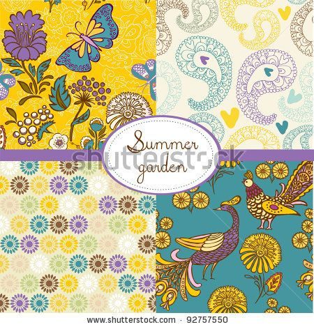 stock vector : set of floral summery wallpapers