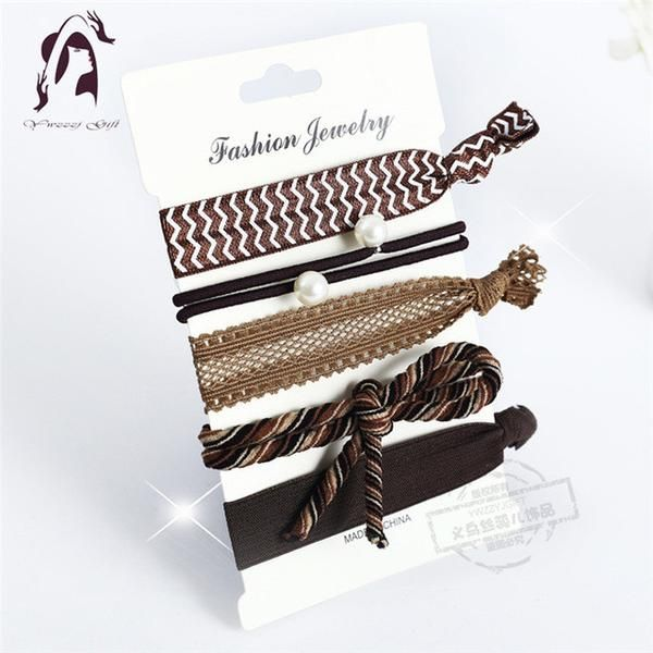 Trendy Summer Elastic Women Hair Accessories Tassel Hairband Jewelry Hand Band For Girls 5PCS/Pack Hair Tips Headwear Hair Bands-Women's Accessories-Enso Store-HB036-Enso Store