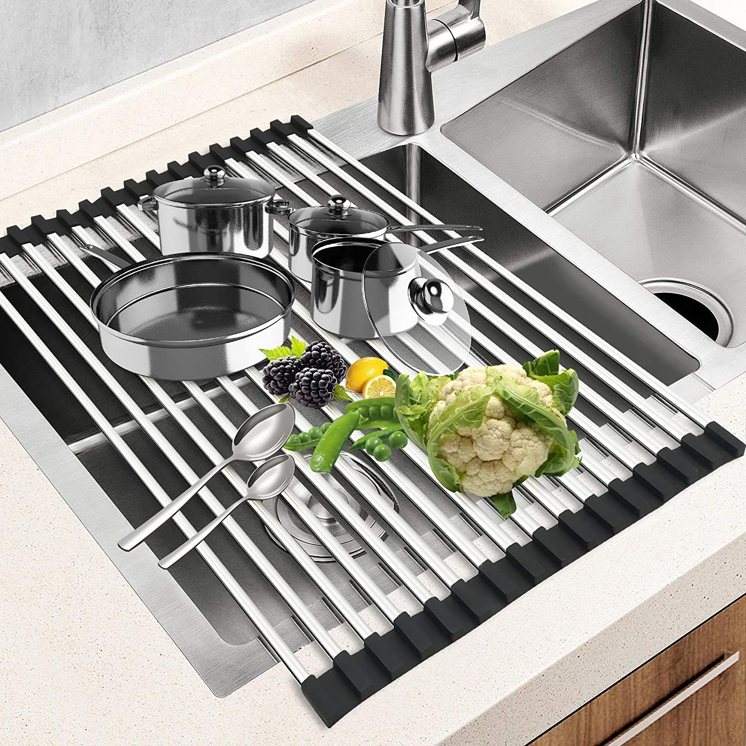 Price:$18. √[Multiple uses ]: Heat resistant up to 446°F (230°C), BPA-Free, so you can use this foldable rack as dish drying rack and trivet cooling rack. Great for air-drying dishes, draining, vegetable colander, protecting counters from hot pots and pans. This dish dryer can also be used as prep works platform over the Sink. #Kitchen #home #kitcheninspirations #kitchenideas #ideakitchen #outsidekitchen #homedecorkitchen