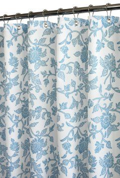 Park B Smith Floral Swirl Watershed Shower Curtain White French Blue