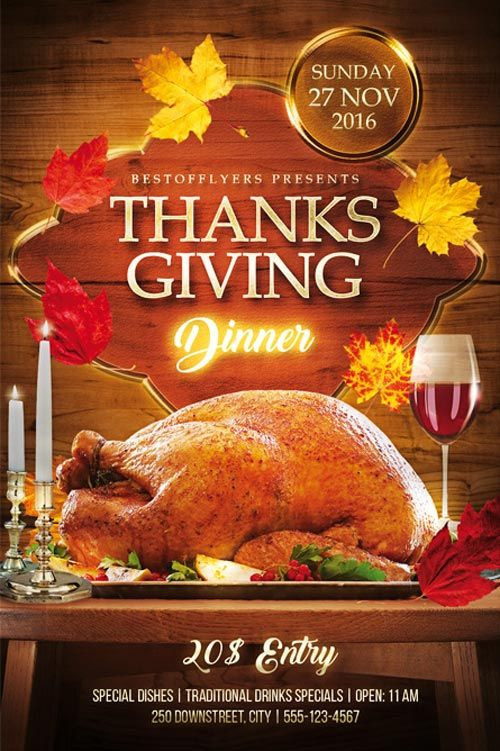Thanks Giving Dinner Free Psd Flyer Template  HttpFreepsdflyer