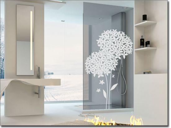 Glassticker Blumendekor - folie für badezimmerfenster