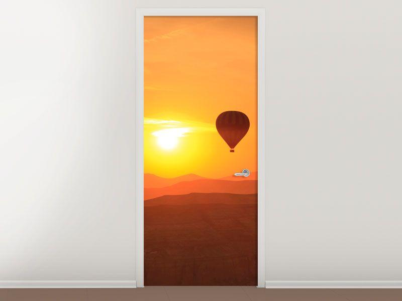 Tür #Tapete Heissluftballon bei Sonnenuntergang