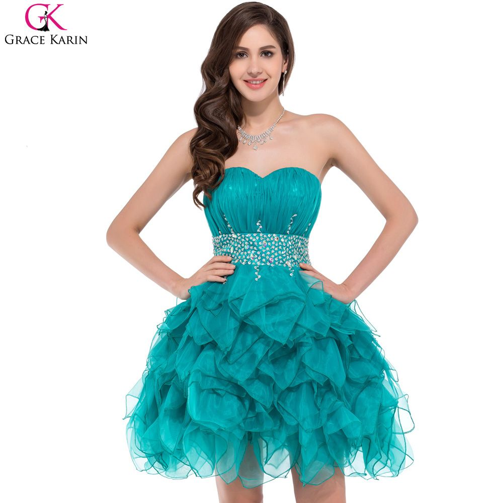 Turquoise prom dresses grace karin voile satin sequin beaded