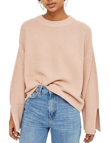 wide sleeve sweater by Topshop. Wide long sleeves with deeply split cuffs define the statement-making style of a texture-knit sweater with nonchalant...