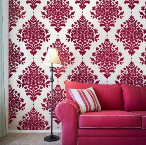 Pink Accent Wall damask rose: a hot-pink accent wall works well when paired with a