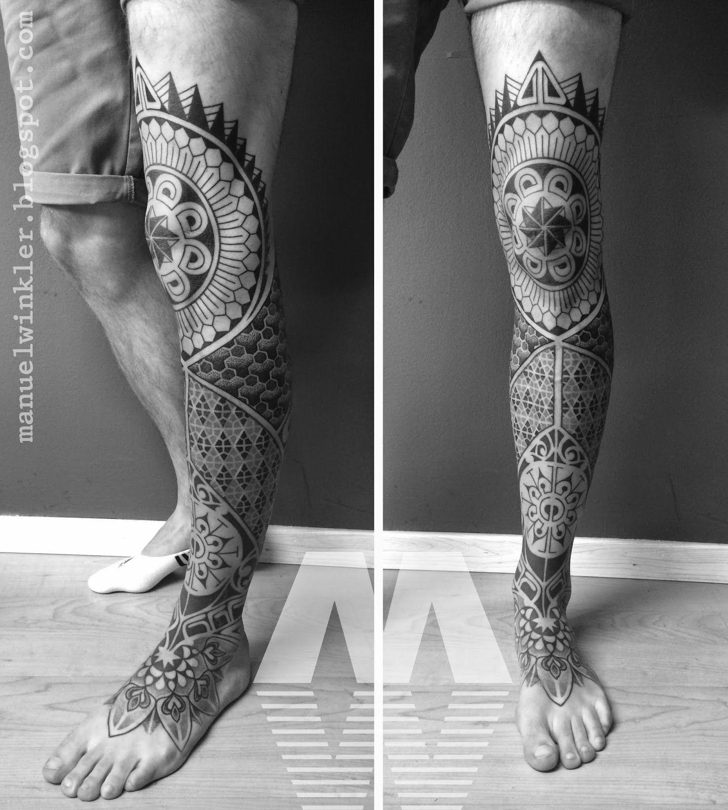 Manuel Winkler Black Dotwork Tattoos Leg Tattoos Leg Sleeve Tattoo Knee Tattoo