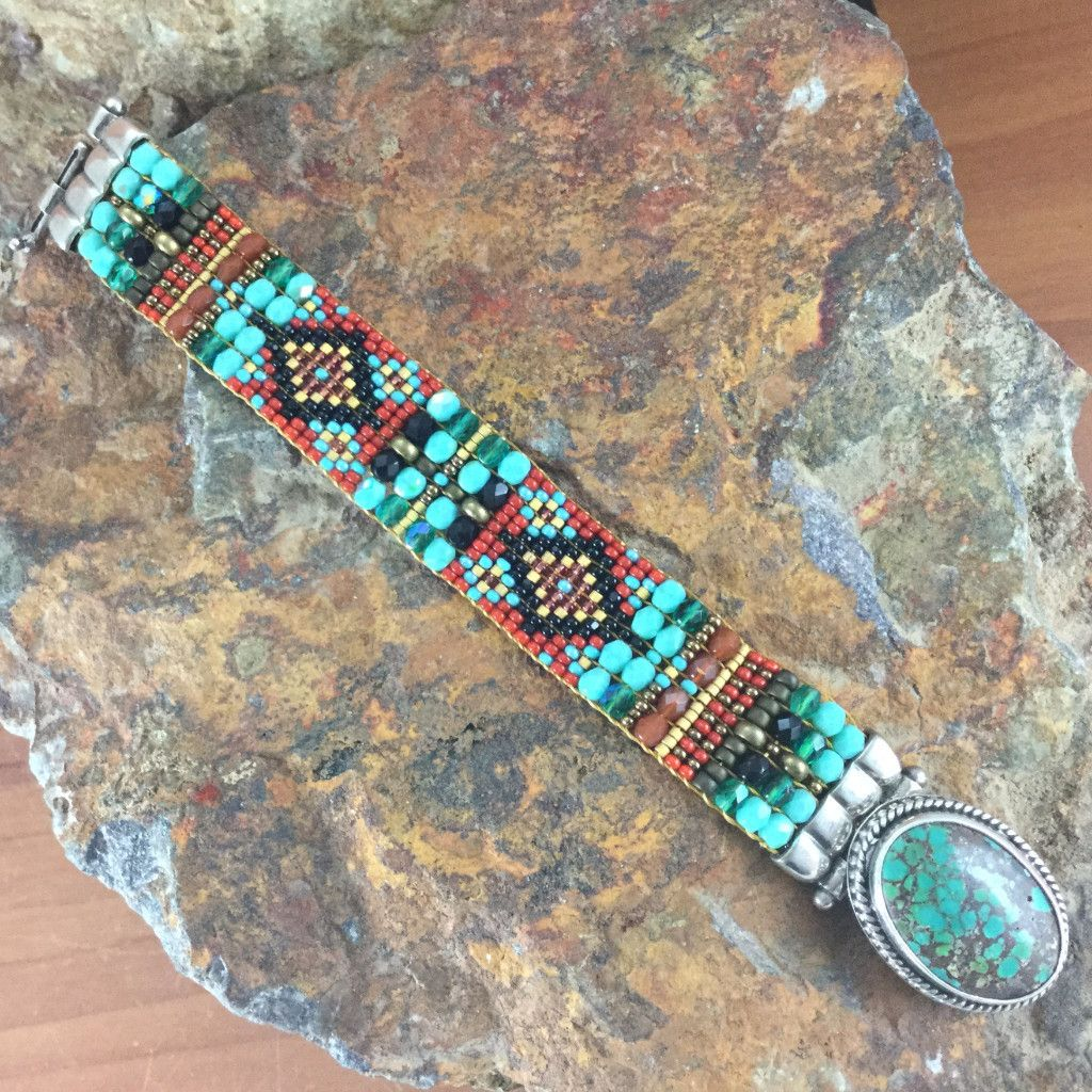 Woven Beaded Bracelet W Turquoise Chili Rose Beadz
