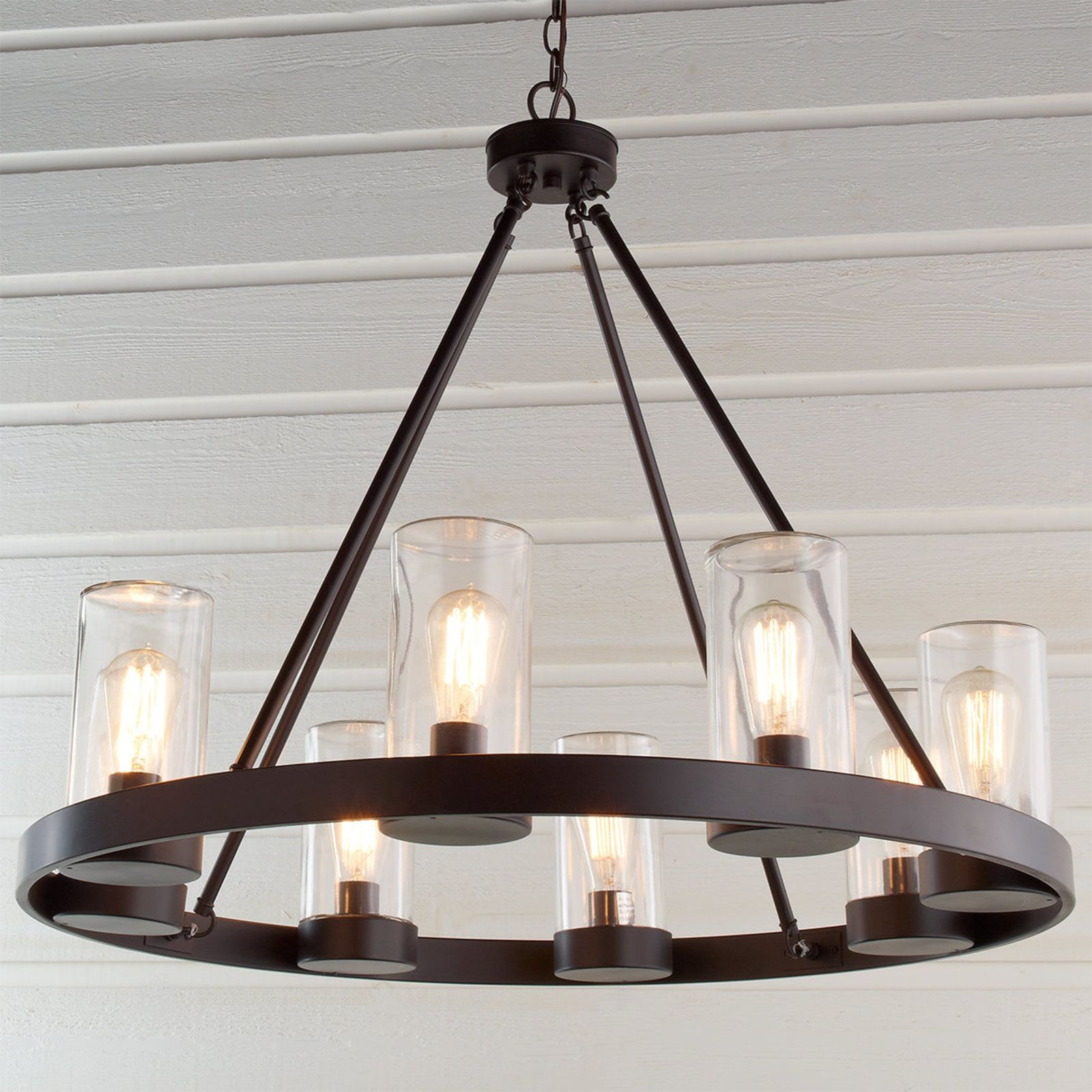 industrial lighting chandelier. $500 round industrial indoor/outdoor chandelier dark_bronze lighting