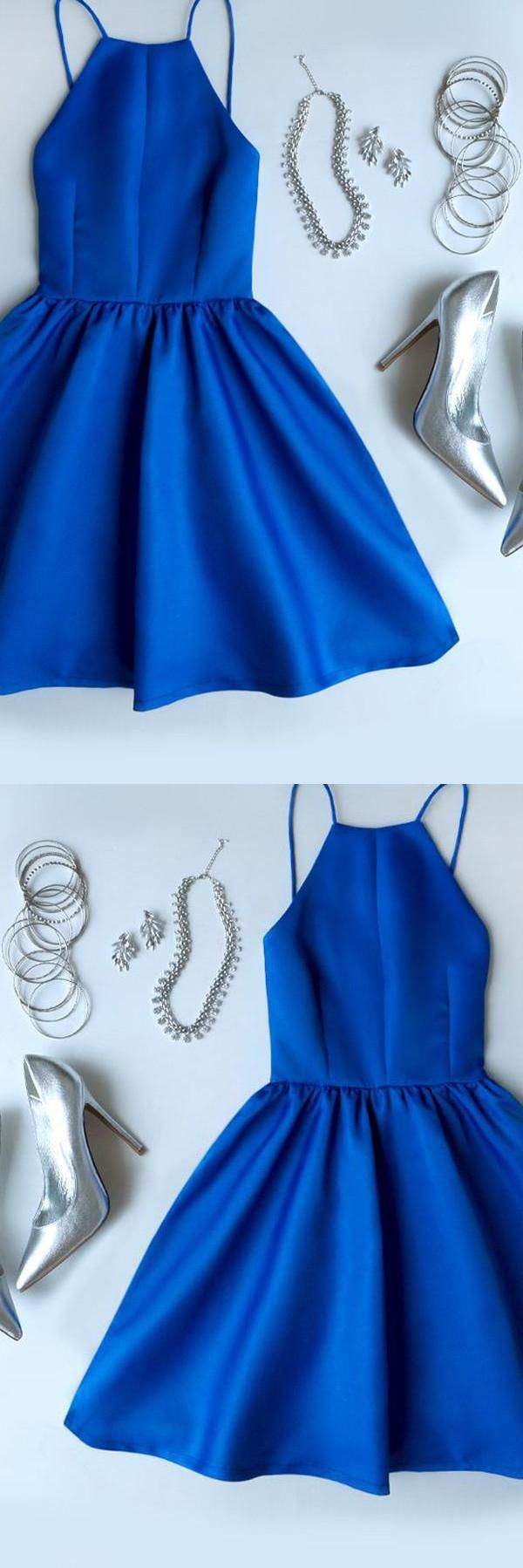 Backless blue short simi in homecoming dresses