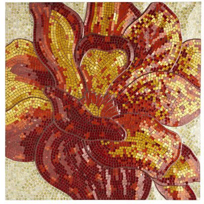 poppy mosaic wall panel has a great color palette and
