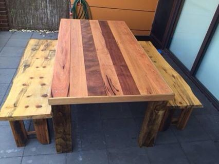 Recycled Hardwood Timber Dining Table Set Bench Seats Are