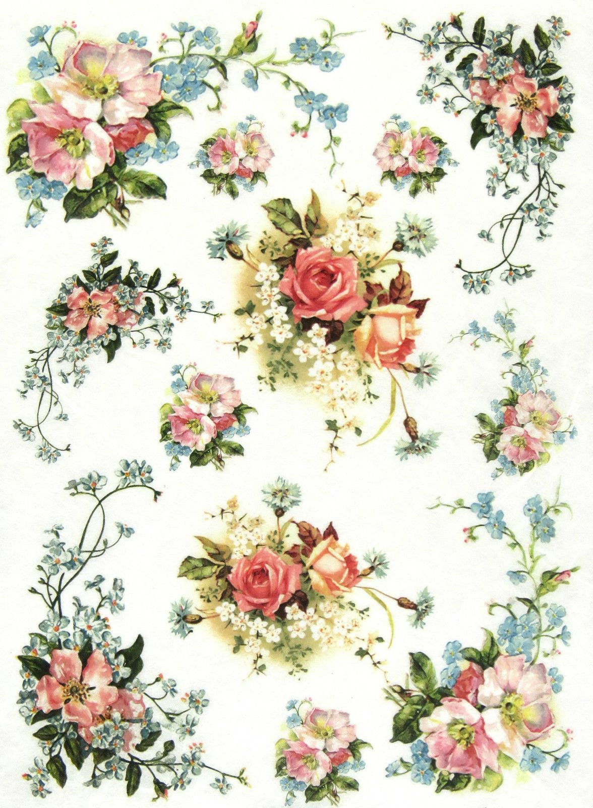 Rice Paper for Decoupage Decopatch Scrapbook Craft Sheet Vintage Petit Bouquet