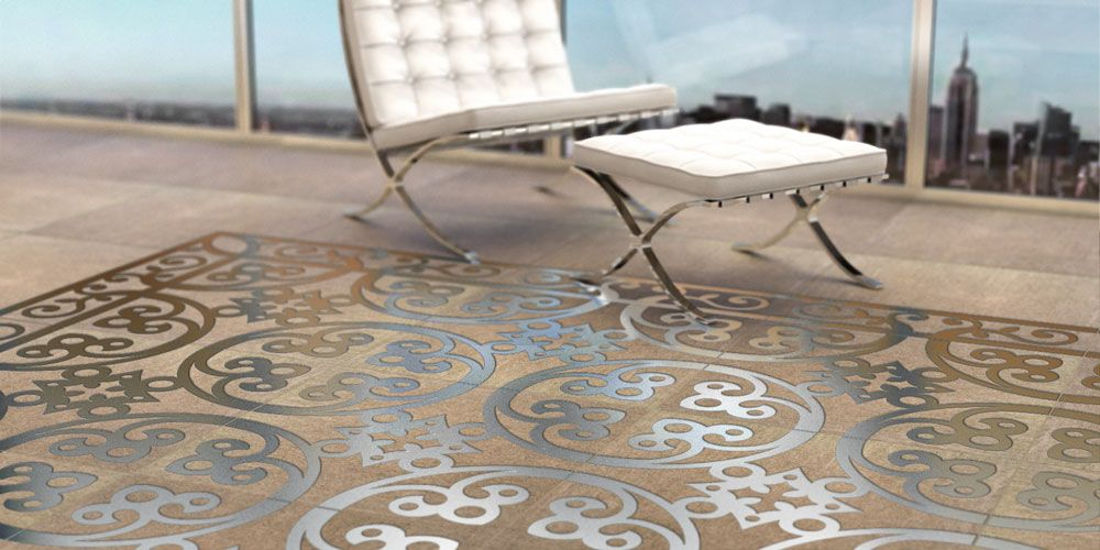Engineered Polymer Concrete Tile With Embedded Metal Decoration By