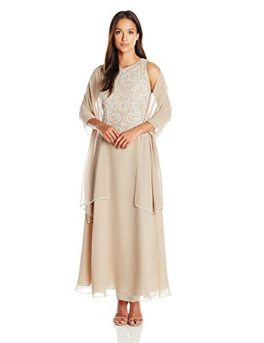 d975f6cc9c5 J Kara Women s Beaded Sleeveless Long Dress With Scarf