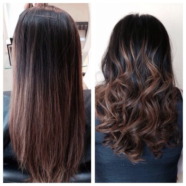 Ombre black hair to brown