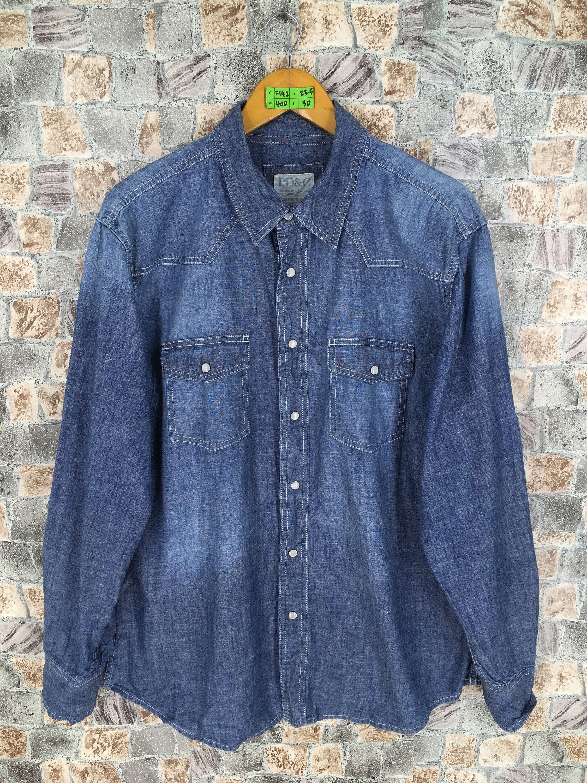 Vintage Denim Shirt Men Women Large Vintage 90 S Jeans Western Shirt Buttondown Flannel Denim Pearl Snap Shirt Size L Vintage Denim Shirt Western Denim Shirt Denim Shirt Men