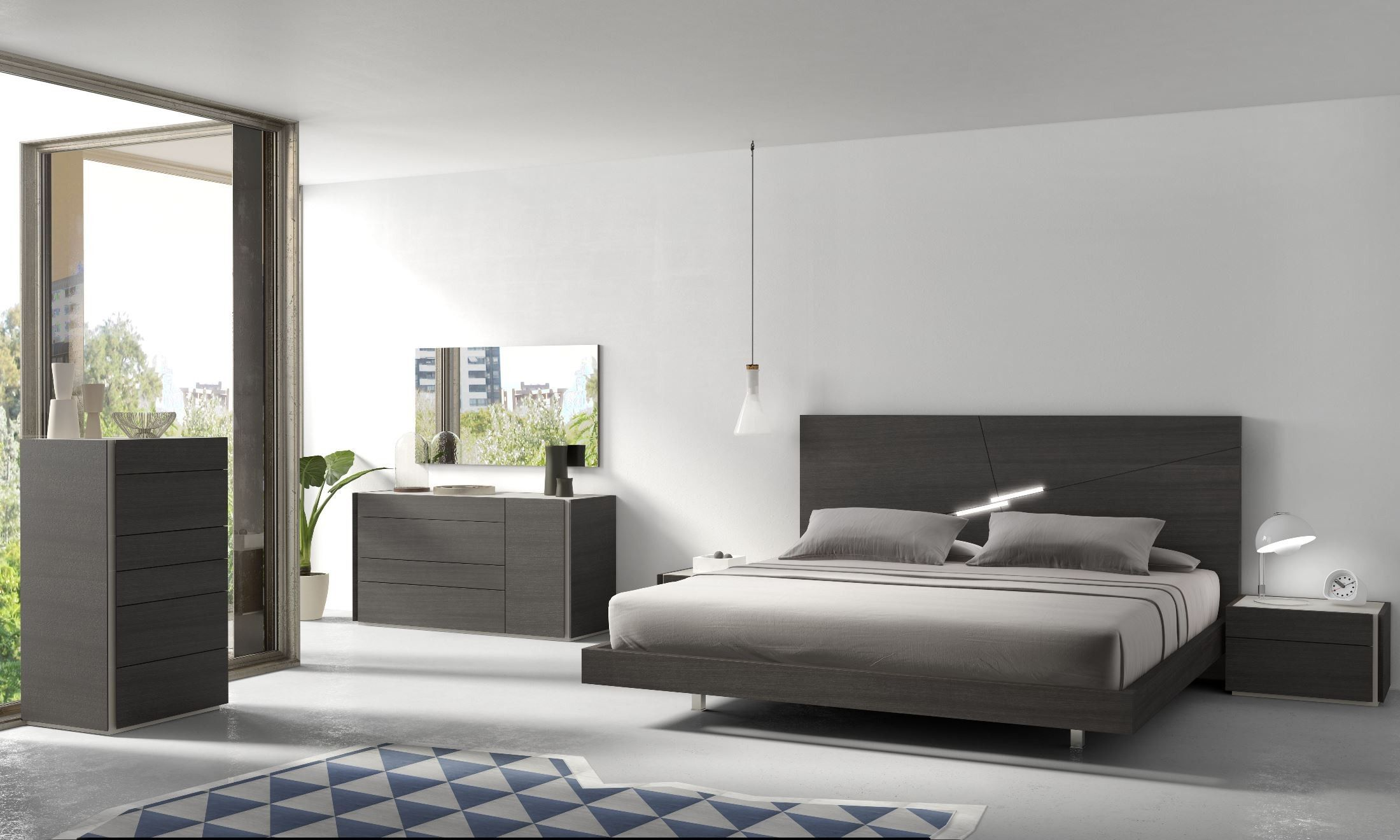 Faro Natural Grey Lacquer Platform Bedroom Set Sypialnia