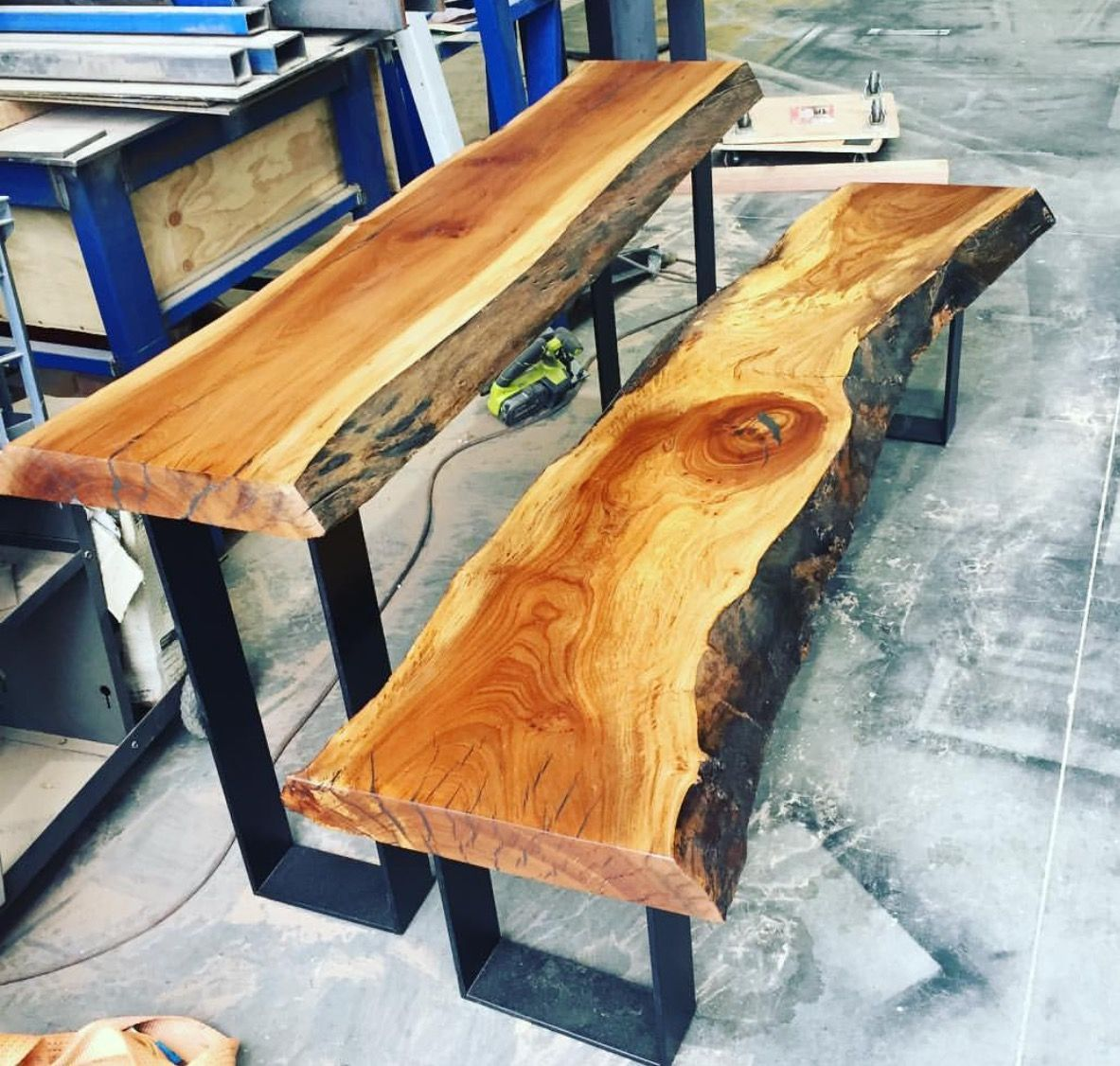 Recycled Elm Slab Hall Table With Black Metal Legs And