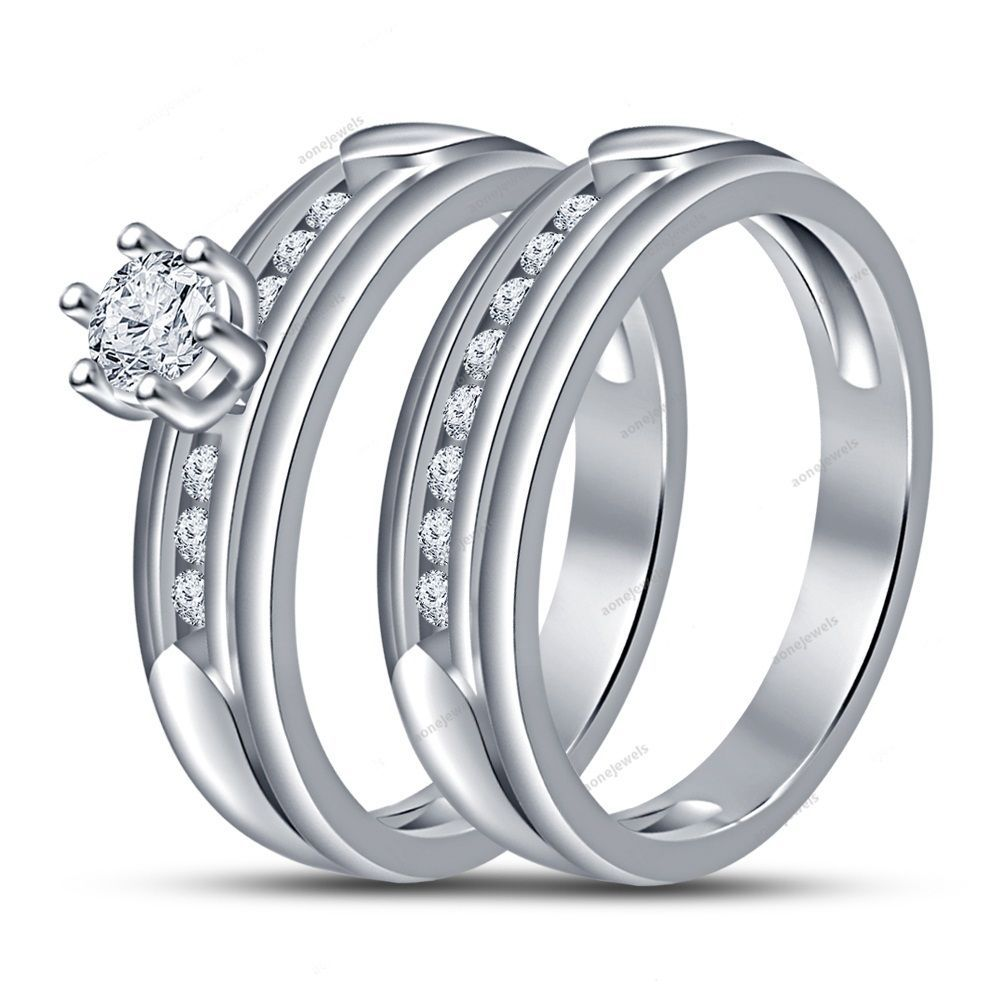 Brilliant Rd D/VVS1 Diamond Traditional Round White Gold Plated Bridal Ring Set #aonejewels