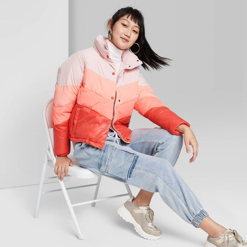 Women S Colorblock Cropped Retro Puffer Jacket Wild Fable S Multicolored Puffer Jackets Jackets Puffer [ 1000 x 1000 Pixel ]