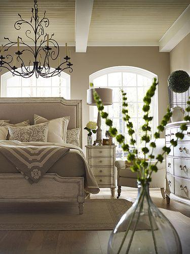 Serene Master Bedroom Hardwood Floors Chandelier Soothing Spa Colors