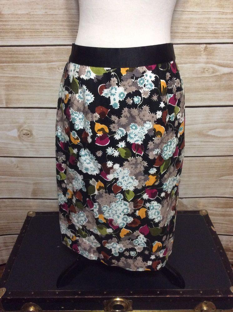 61a3815870ab Girls From Savoy Anthropologie Black Floral Linen Straight Stretch Skirt 6  #GirlsFromSavoy #StraightPencil