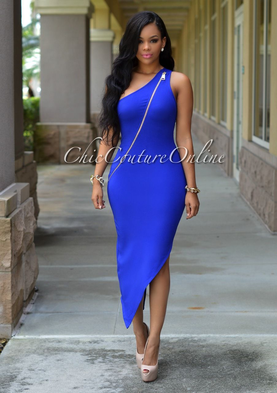 Chic Couture Online - Maura Royal-Blue Gold Zipper One Shoulder ...