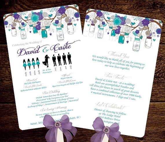 Silhouette Wedding Program Template Fan Mason Jars Flowers