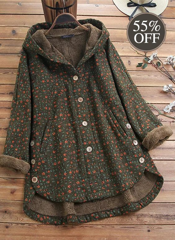 【Get Now】S-5XL Women Vintage Floral Print 3/4 Sleeve High Low Button Coats.