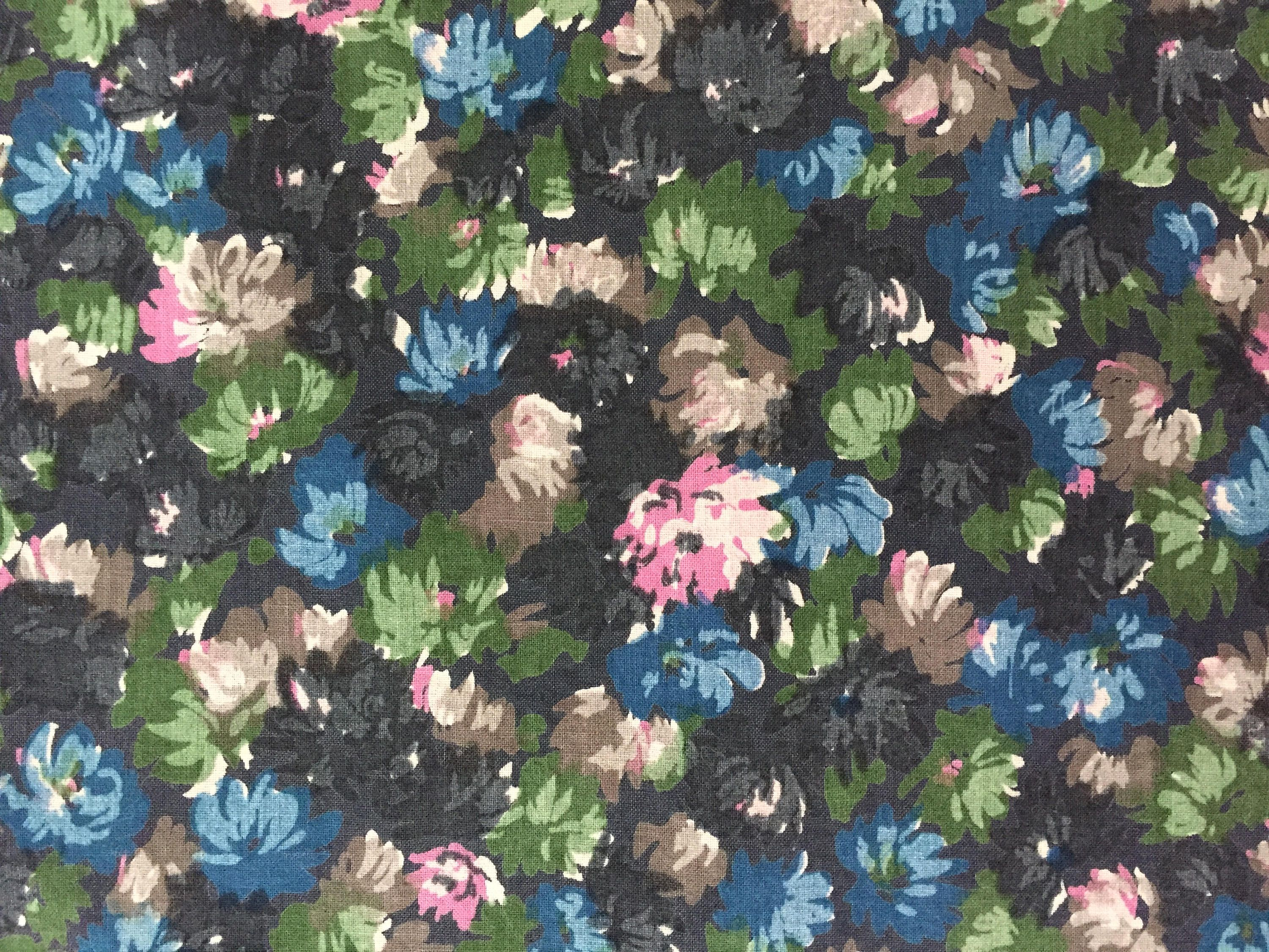 Vintage Floral Cotton Fabric Black Background W Pink Blue And