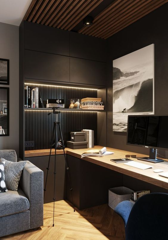 Open Study Room: A Contemporary Moody Home Office With Closed And Open