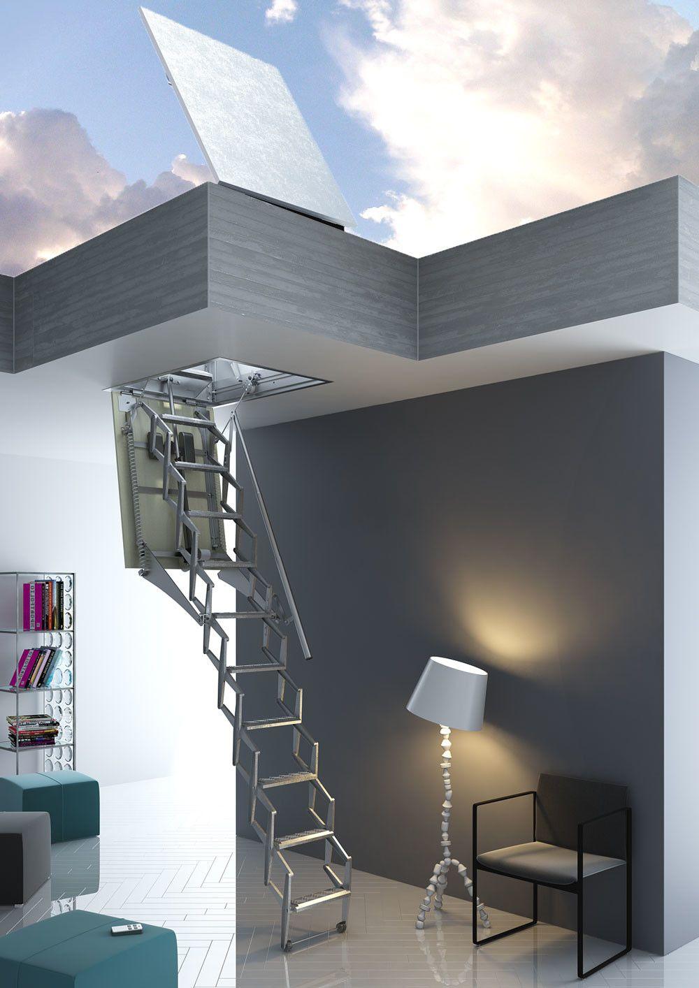 Escalera plegable de tijera para techo flexa apartamentos pinterest escaleras hogar y casas - Escalera de techo ...