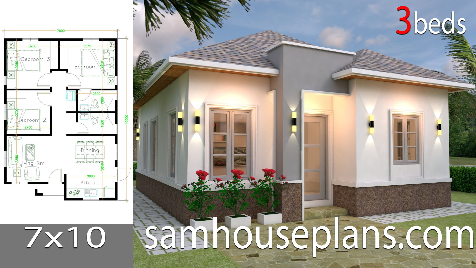 House Plans 7x10 With 3 Bedroomsthe House Has Car Parking And Garden Living Room Dining In 2020 Small House Design Plans Small House Design Architectural House Plans