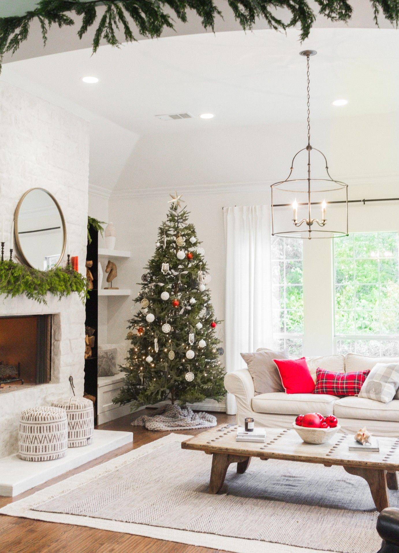 A Tasteful Hallmark Christmas Farmhouse Living Christmas Decorations Living Room Christmas Coffee Table Decor Simple Christmas Decor Living room xmas decoration