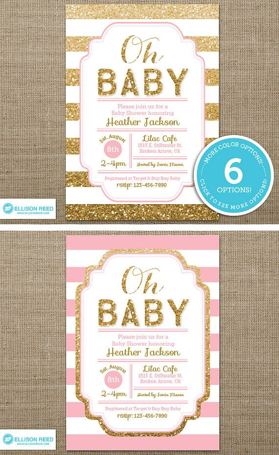 gold baby shower invitation - pink and gold baby shower invitation, Baby shower invitations
