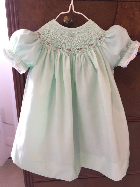 83b1fb497 Size 12 Months Heirloom Hand Smocked Girls Green Mint Bishop Dress ...