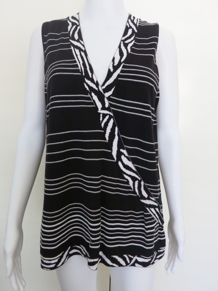 HAUBER Collection Ladies Top Size 12 Black White Sleeveless #Hauber #TankCami #EveningOccasionSpecial