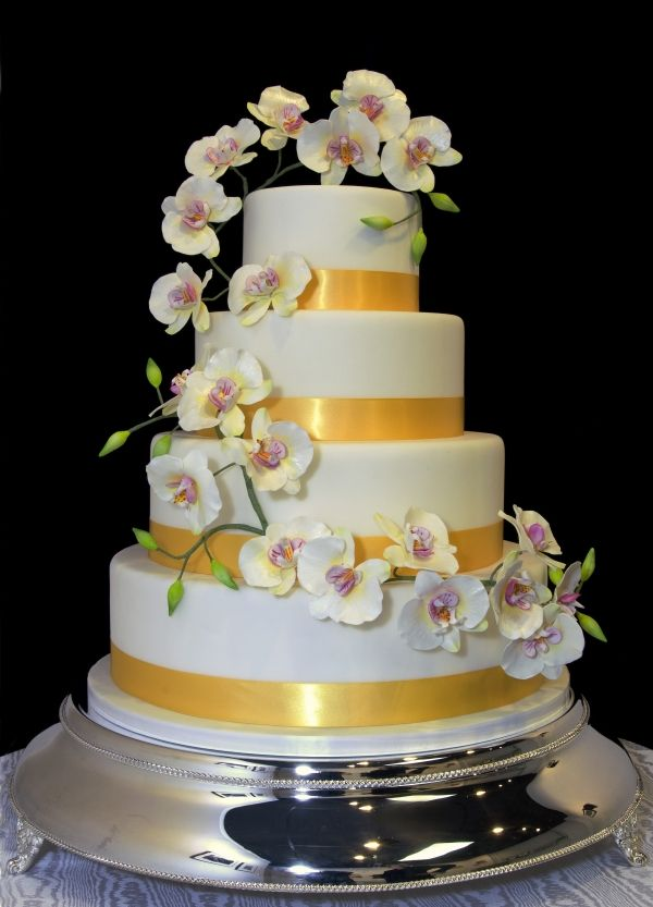 Cake decorated with orchids