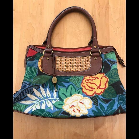 Fossil Handbags New Modern Vintage Fl Leather Purse