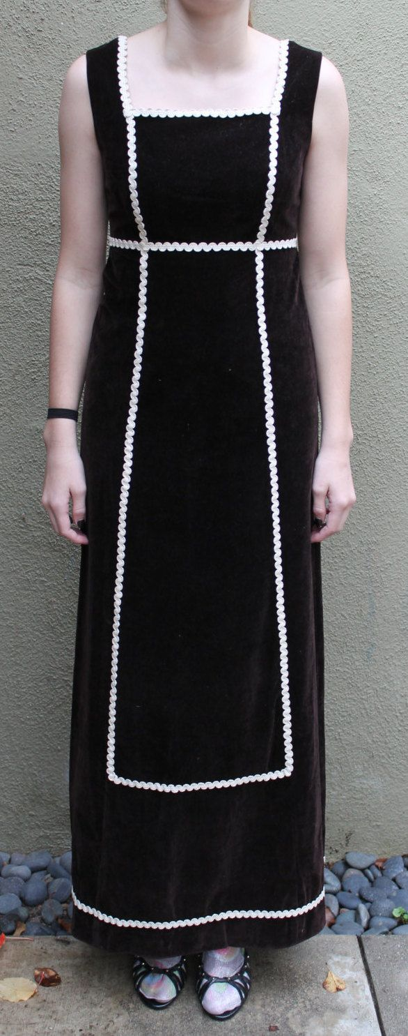 Lanz original vintage 60s brown velvet maxi dress long dress with white trim size small by Anabecca on Etsy