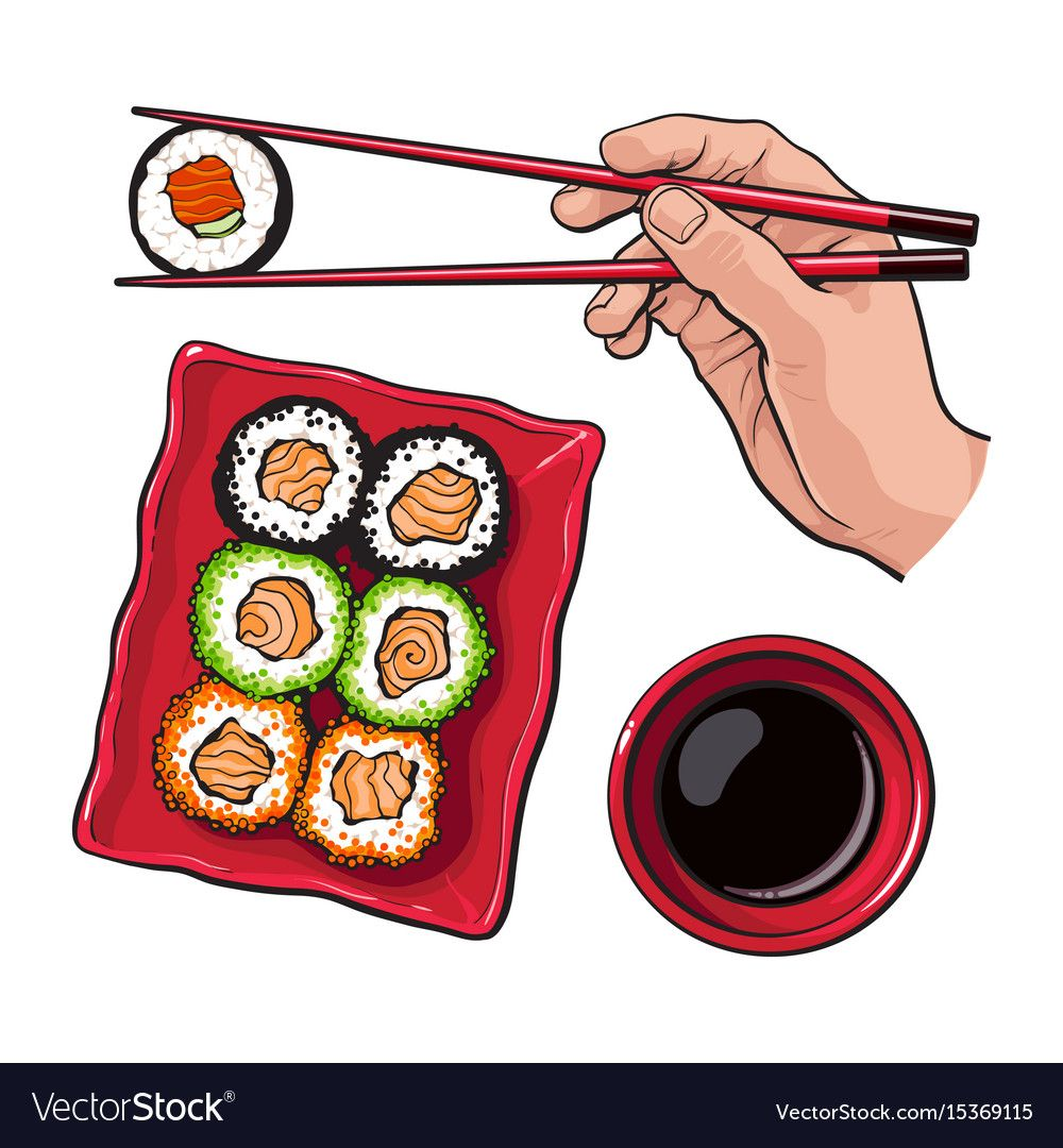 Eating sushi - human hand with chopsticks and soy vector image on VectorStock