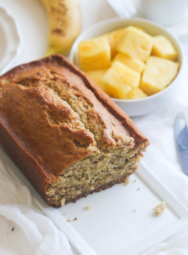 Moist Pineapple Banana Bread Laced With Rum Vanilla And Nutmeg And With Bits Of Crus Pineapple Bread Banana Bread With Pineapple Pineapple Banana Bread Recipe
