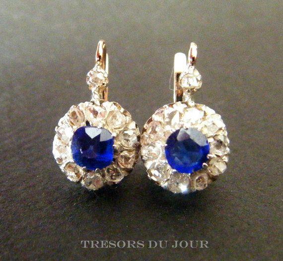 Diamond Earrings Antique Diamond Earrings Antique Sapphire Flower Cluster Earrings 18k Gol Antique Diamond Earrings Vintage Sapphire Earrings Sapphire Earrings