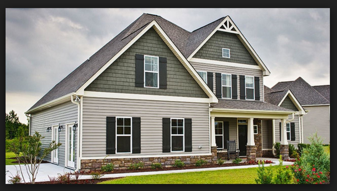 7 Popular Siding Materials To Consider: Two-tone Siding With Shutters