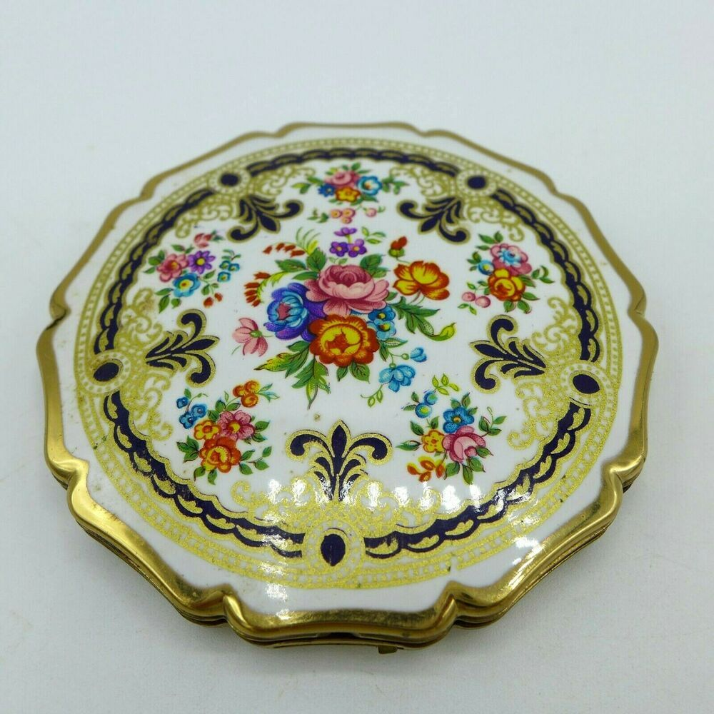 "Vintage Compact Make Up Mirror Stratton England 3"" Flower"