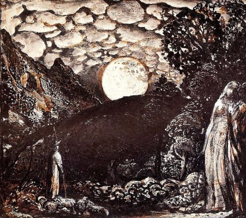 """Samuel Palmer - Shepherds under a Full Moon. 1827 """