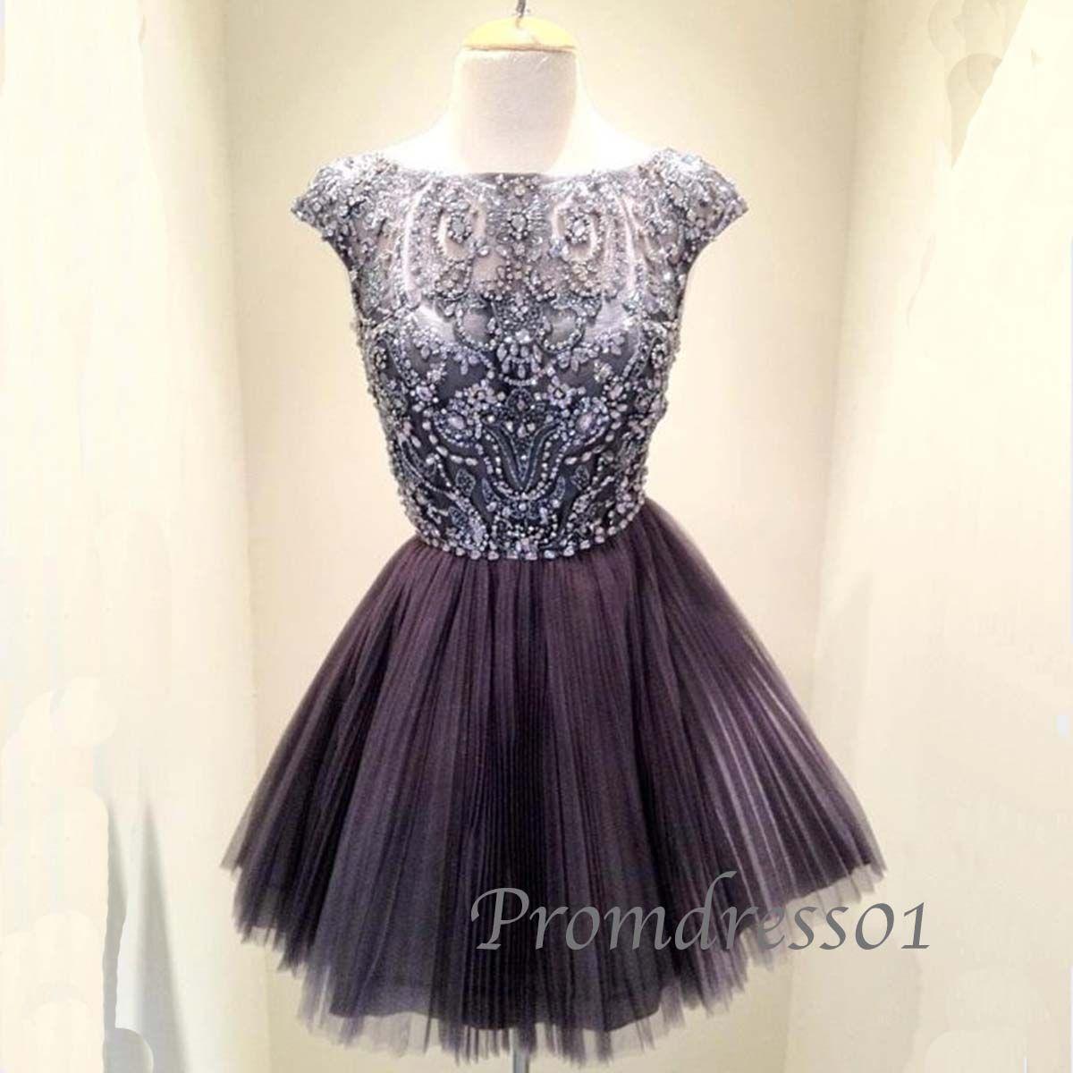 cute black roundneck beaded short sleeves tulle short prom